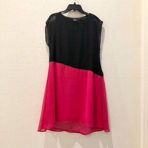 ASOS Black & Rose Pink Asymmetrical A Line Dress